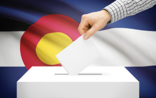 Colorado Flag and Ballot Box